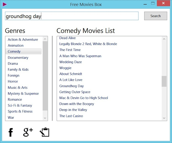 Free Movies Box Screen shot